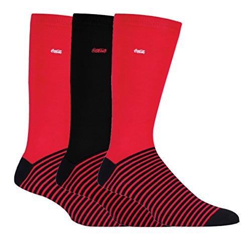 Coca-Cola - 3 Paar Herren Gemustert Baumwolle Süsse Lustig Schick Socken mit Coke Logo für Geschenk (39-45 EU, CM284)