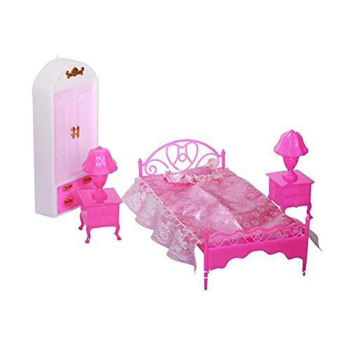 Kinder Mädchen Spielhaus Puppe Schlafzimmer Bett Tischlampe Kleiderschrank Zubehör Spielzeug Multi ()