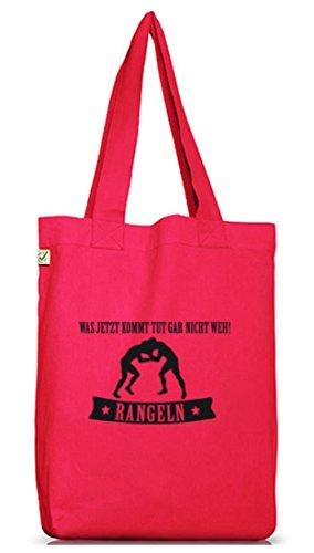 Shirtstreet24, RANGELN - WAS JETZT KOMMT... Jutebeutel Stoff Tasche Earth Positive Hot Pink