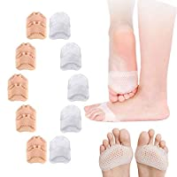 SITAKE 10 Pairs Gel Metatarsal Pads - Forefoot Pads - Ball of Foot Cushions for Pain Relief - Gel Foot Cushion - Metatarsal Foot Pain Relief for Men and Women (Nude, White)