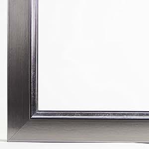 Bilderrahmen FIOANA 76x105 oder 105x76 cm in Champagner / Silber mit normal Kunstglas und Rückwand, 32 mm breite echt Massivholz-Leiste in edel, luxuriöser Optik