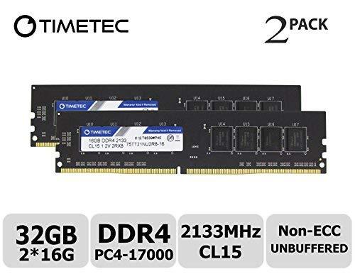Nicht-ecc Single (Timetec HYNIX IC 4GB DDR42133MHz, PC4-17000nicht ECC Unbuffered 1,2V CL151R8Single Rank 288Pin UDIMM Desktop PC Computer Memory RAM Arbeitsspeicher Upgrade 32GB KIT (2x16GB))