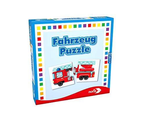 Noris 608985663 608985663-Fahrzeuge Puzzle, Reise-und Mitbringspiel