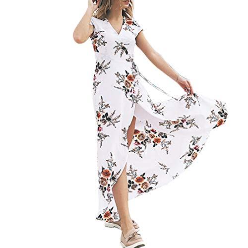 Yvelands Sommerkleider Damen Maxi Kleid Off Shoulder Abendkleid Strandkleid Party Schulter Kleider Schulterfrei Strand Spielanzug Boho (L, Weiß2)