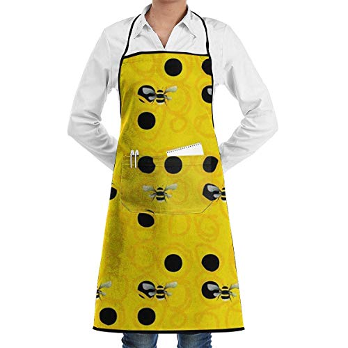 GDESFR Apron with Pock,Bumble Bees Apron for Men and Women,with Pockets Bib ()