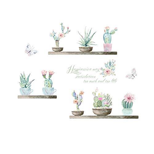 Giardino Piante In Vaso Cactus Aloe Wall Stickers Home Decor Soggiorno Fiore Farfalla Bonsai Parete Decalcomanie Fai Da Te Arte Murale Poster