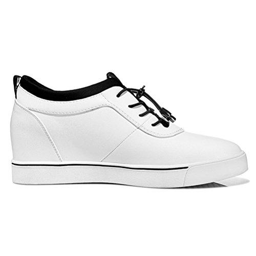 Damen Frühling und Sommer Dicke Sohle Schnürsenkel Elastische Keilabsatz Lässige Sportliche Flach Slip On Sneakers Weiß