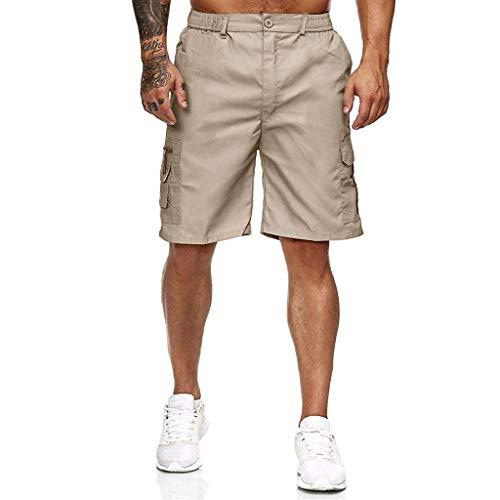 HLHN Herren Casual Outdoor Mehrere Elastische Taille Knielangen Kordel Shorts, Sommer Weich Und Bequem Hosen (M, Khaki) -