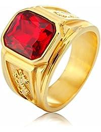 Taizhiwei anillo turquesa titanio acero inoxidable anillos talla piedra personalizado dorado antiguo anillo hombre