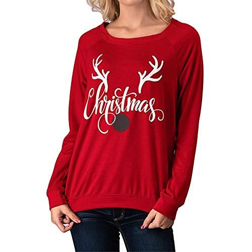 SEWORLD Frohe Weihnachten Kapuzenpulli Damen Mode Frauen Frohe Weihnachten Brief Weihnachten Elk...