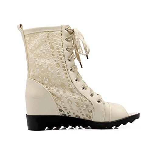 YE Damen Peep Toe Keilabsatz Plateau Sandalen mit Schnürung Offen Sommer Ankle Boots Beige
