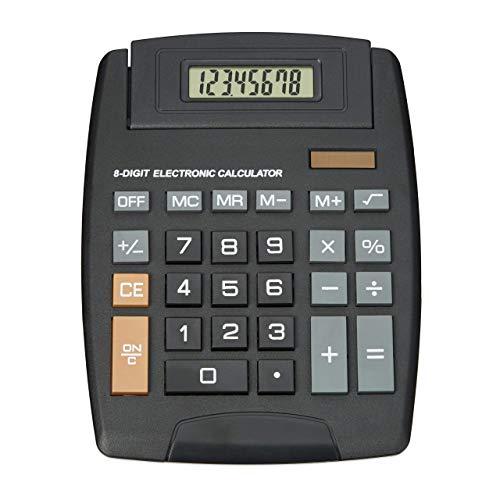 Relaxdays Taschenrechner Classic, große Tasten, Dual Power, klappbare Anzeige 8-stellig, Financial Calculator, schwarz - Taschenrechner Große 8-stellige Anzeige