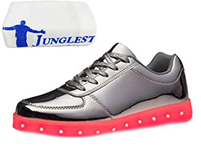 [Present:kleines Handtuch]Rot EU 42, weise Outdoorschuhe LED-Licht für Wechseln JUNGLEST® USB Laufschuhe aufladen Farbe Sportschuhe und Sneaker Damen Herren Mode Leuchtend