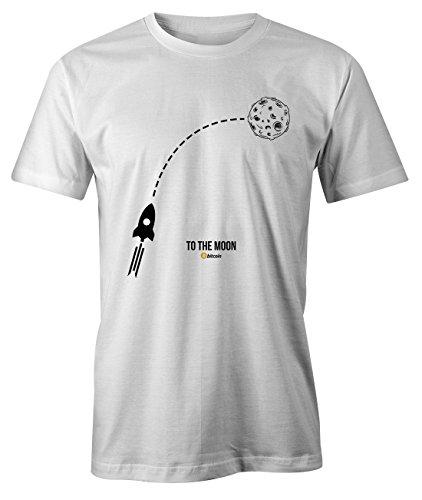 RiotBunny To The Moon Crypto Trader Miner Bitcoin Cryptocurrency BTC Ltc Digital Currency T-Shirt Camiseta Hombres Blanco Medium