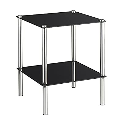 VonHaus 2 Tier Glass End Table / Side Shelf / Coffee Table with Tempered Glass Shelves Free 2 Year Warranty - low-cost UK coffee table shop.
