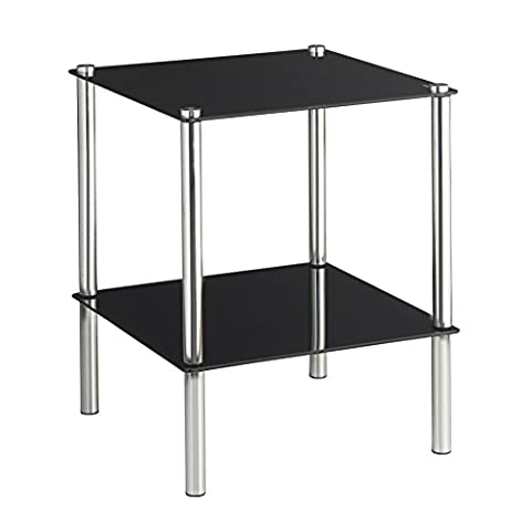 VonHaus End Table, Coffee Table or Side Table for Living Rooms Black Glass Two Tier Modern Stand