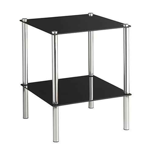Vonhaus 2 tier glass end table side shelf coffee table for 2 shelf glass coffee table