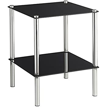vonhaus end table coffee table or side table for living rooms black glass two tier modern stand