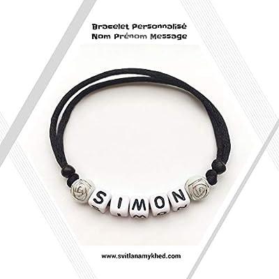 Bracelet personnalisé avec prénom SIMON (réversible) homme, femme, enfant, bébé, nouveau,né.