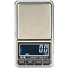 Laileya 1000g / 0.1g Balanza de precisión digital mini balanzas de bolsillo electrónico Escalas de