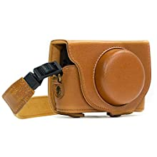 MegaGear MG590 Sony Cyber-shot DSC-RX100 VI, DSC-RX100 V, DSC-RX100 IV Ever Ready Leather Camera Case with Strap - Light Brown