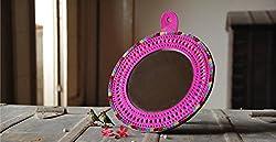 A&E Makeup kutchi Round Genuine Leather frame Designer hand mirror