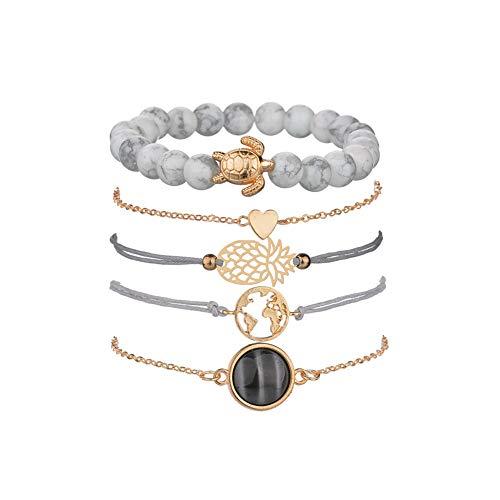 Armbänder Damen Set, Dsaren Mehrschichtiges Armband Verstellbare Reizend Perlen Hand Kette Stapelbar Gold Armreifen für Frauen Mädchen Geschenk (Ananas und Schildkröte)