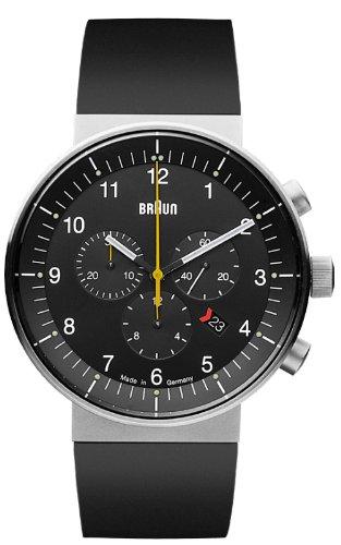 Braun - 66548 - Montre Mixte - Quartz - Analogique - Chronomètre/Aiguilles lumineuses - Bracelet Caoutchouc Noir