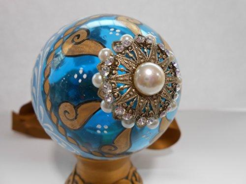 Uova in vetro decorate a mano celeste