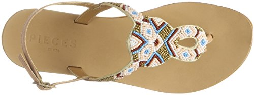 Pieces Pscarmen Leather Sandal, Tongs Femme Beige (Nude - Multi Beads)