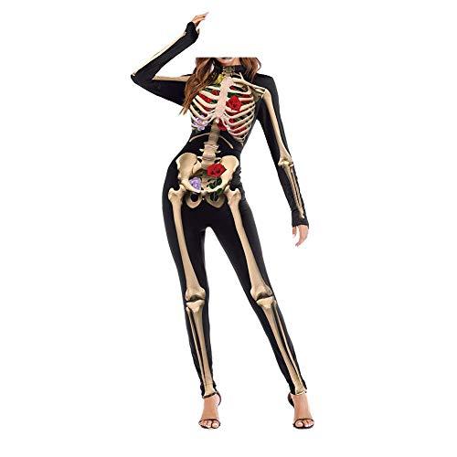 Traje del mono de Halloween de la muchacha de las mujeres Traje de la piel del esqueleto 3D de la impresión Huesos Vestido de lujo Traje del traje de Cosplay total (B L/XL)