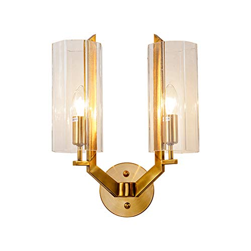 Lampes murales nordiques postmodernes Salon Décoration Corridor Chambre Lampe de chevet Home Deco Or Appliques Murales Luminaire,Doublehead