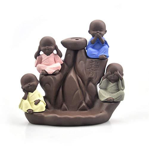 LJSHU Rückfluss Weihrauch Brenner, Weihrauch Keramik handgefertigt Vier Nicht kleine Mönch Weihrauch Brenner Brenner Aromatherapie Home Art Dekoration (50 Kegel)