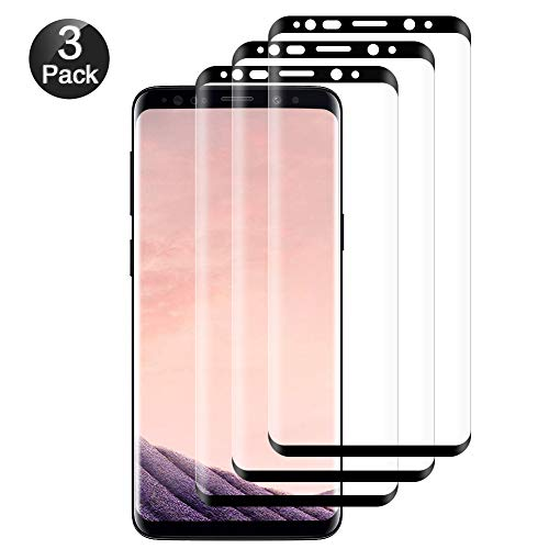 hanbee pellicola vetro temperato per samsung galaxy s8 pellicola protettiva per samsung s8, 3 pezzi, 3d copertura completa, hd trasparenza, anti-graffi pellicola