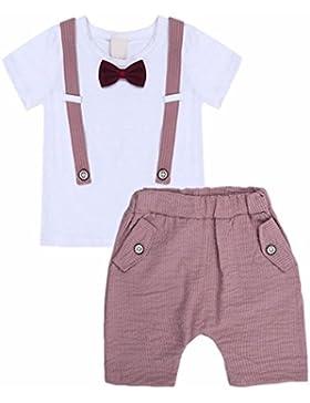 iiniim Estate 2017 Neonato Bambino Vestito a due Pezzi Maschi Maniche Corte Stripe Abito Outfit T-Shirt + Short...