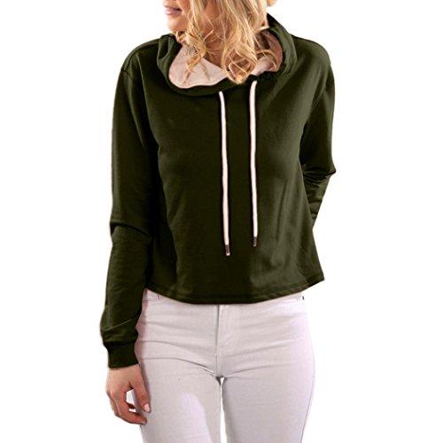 BZLine Femmes Coton Sweat-Shirt à Capuche Manche Longue Pull-over au Lacet Couleur Unie Vert