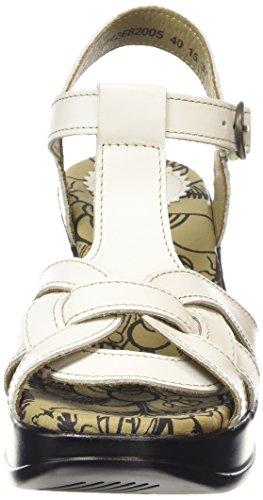 FLY London HEWS682FLY, Sandales Compensées femme Blanc Cassé - Off White (OFFWHITE)
