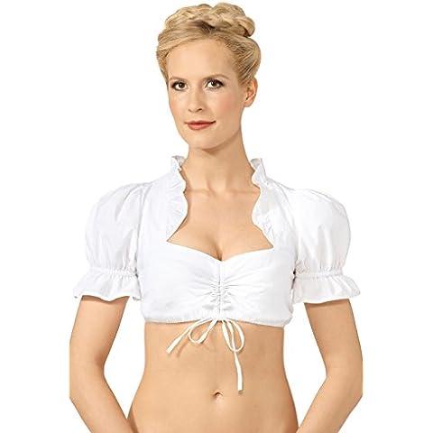 Original Steindl München-Salzburg Dirndl Blusa para mujer, color blanco weiß