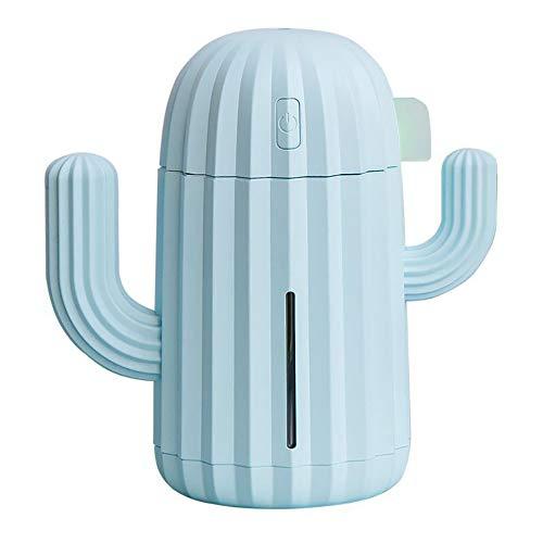 Electz Mini Casa Ultrasonico Umidificatore, Cactus USB Freddo Nebbia Umidificatore, Batteria Operato Auto Aria Depuratore Deodorante, sincronizzazione Aroma Diffusore USB Aria Umidificatore,Blu