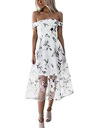 Conquro Estilo Sencillo un Hombro Estampado de Flores de Manga Corta Color  sólido Vestido de Moda Camisa Fuera del Hombro Ropa de Playa… 25d734cf142