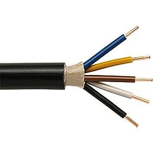 Erdleitung Erdkabel NYY-J 5 x 1,5mm², schwarz, Länge wählbar (25m)