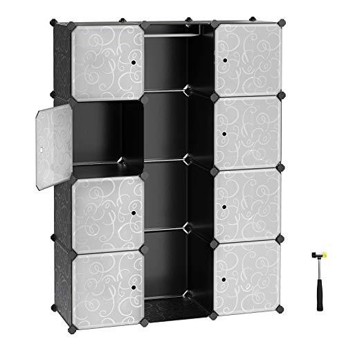 SONGMICS Kleiderschrank aus Kunststoff, Garderobenschrank, Steckregalsystem, Kapazität 590 L, 143 x 108 x 36 cm, mit Kleiderstange, inkl. Gummihammer, schwarz LPC30B - Cube Kleiderschrank
