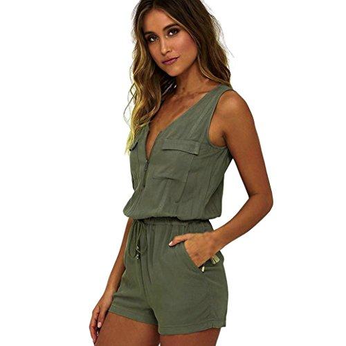 ❤️LuckyGirls Bodysuit Ärmellos Jumpsuit Overalls Damen Sommer Top Reißverschluss V Kragen mit Taschen Elegant Kurz Playsuit (Grün, S)