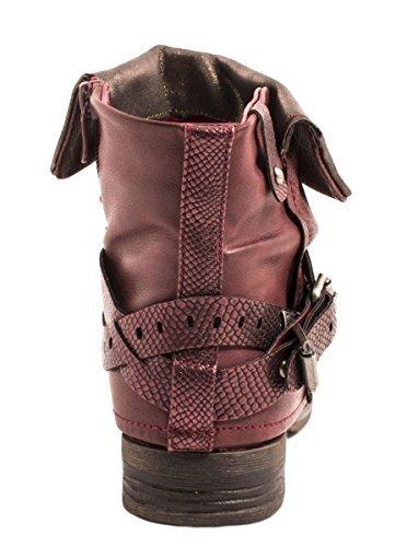 Elara Damen Stiefeletten | Bequeme Biker Boots | Metallic Print Nieten | Chunkyryan Wine