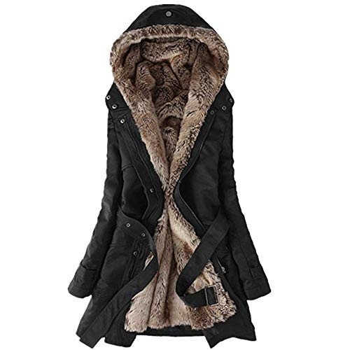 Damen Steppjacke Winterjacke MYMYG Baumwollkleidung Wintermantel Lange Winter Warm Dicker Mantel Parka Jacke Outwear Trenchcoat mit Pelzkragen(Schwarz,EU:42/CN-2XL)