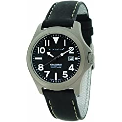 Momentum Atlas Women's Quartz Watch with Black Dial Analogue Display and Black Leather Strap 1M-SP01B2B
