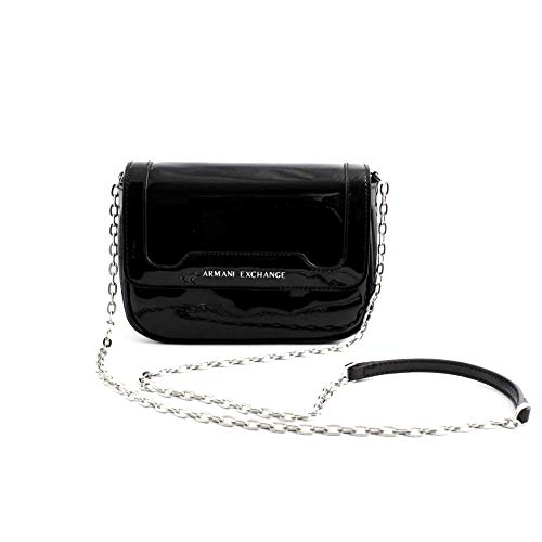 Armani Exchange Damen Crossbody Bag Colorful Schultertasche, Schwarz (Black), 15x6.5x19 cm
