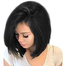 Parrucche Donna Lace Front Capelli Veri Corti Lisci Parrucca Naturali Wig  Per Feste Cosplay Animazione Party 671ce0e5a092