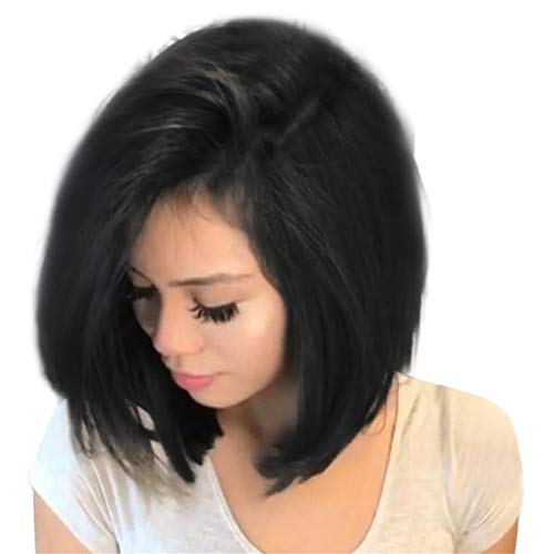 Parrucche donna lace front capelli veri corti lisci parrucca naturali wig per feste cosplay animazione party dailylife everyday fancy dress (nero)