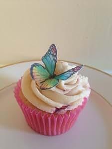 15 arc-en-ciel papillon comestible cup cake topper décorations
